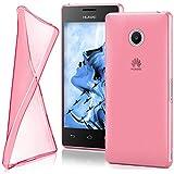 moex Huawei Ascend Y300 | Hülle Silikon Transparent Rosa Clear Back-Cover TPU Schutzhülle Dünn Handyhülle für Huawei Y300 Case Ultra-Slim Silikonhülle Rückseite