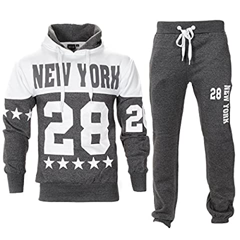 New York Print Pull Over Hooded Fleece Tracksuit-Charcoal-L