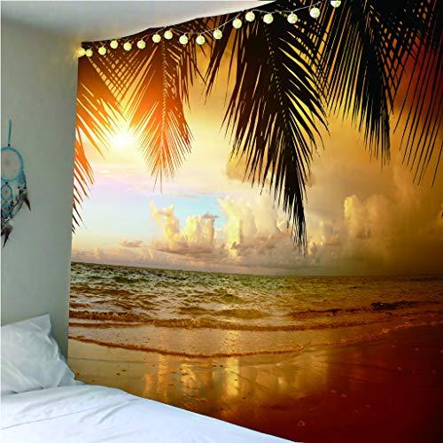 zhkn Wandteppiche Digitaldruck Sonnenuntergang Über Dem Meer Muster Wandteppiche Wanddecke Strandtuch Teppich Decke Zelt Reisematratze Isomatte Für Hauptdekoration 200X200CM -