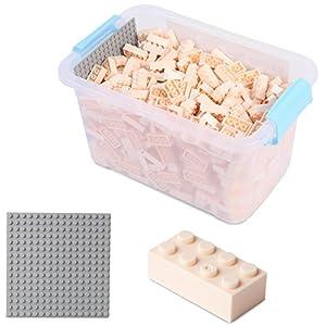 Katara Juego De 520 Ladrillos Creativos En Caja Con Placa De Construcción 100% Compatibles Con Lego Classic, Sluban, Papimax, Q-bricks, Color Crema (1827)