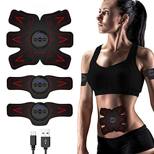 sakobs EMS Trainingsgerät Bauchmuskeltrainer Muskelstimulator Elektrische Muskelstimulation EMS Ab Stimulator Rot