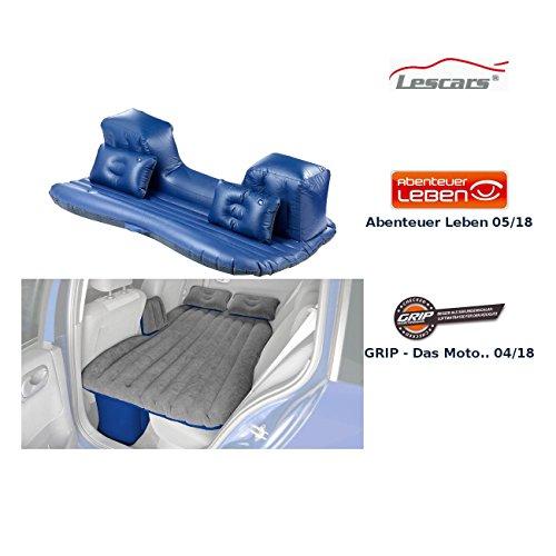 Lescars Autobett: Aufblasbares Bett für Den Auto-Rücksitz, mit Kissen und Fußraum-Stütze (Autoluftbetten)