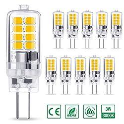AMBOTHER G4 LED Lampe 3W 300LM, Warmweiß 3000K 16x 2835 SMD ersetzt 30W Halogenlampe, Kein Flackern CRI 85, 360° Abstrahlwinkel 12V AC/DC, Nicht Dimmbar G4 LED Leuchtmittel Birnen Glühbirne, 10er Pack