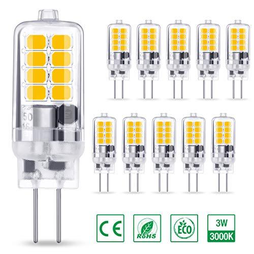AMBOTHER G4 LED Lampe 3W 350LM, Warmweiß 3000K 16x 2835 SMD ersetzt 30W Halogenlampe, Kein Flackern CRI 85, 360° Abstrahlwinkel 12V AC/DC, Nicht Dimmbar G4 LED Leuchtmittel Birnen Glühbirne, 10er Pack -