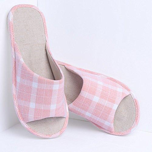 Pantofole in cotone antiscivolo in cotone KENROLL Soft Comfortable Moisture Wicking Pantofole da interno in lana da Uomo da Donna (7.5-8 UK/42-43 EU, Light Khaki) Rosa-01