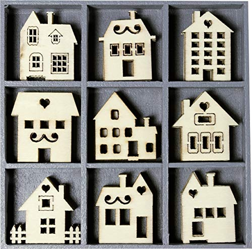 cArt-Us 10.5 x 10.5 cm Wooden Box with Houses, Natural, 2.5cm per piece