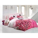 Luoca Patisca Mitis 3D Bettwäsche-Set für Doppelbett, 100% Baumwoll-Satin Blumenmuster, Pink