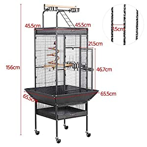 Yaheetech Bird Breeding Cage Pet Supply Metal African Grey Parrots Cockatiels Sun Parakeets Conure Lovebirds Budgies Finches Play Top Bird Cages with Perch Stand and Wheels (Black) by Yaheetech
