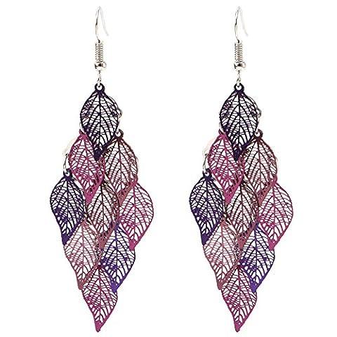 Dairyshop 1 Paar Stilvolle Edelstein Perlen Damen Hexagonal Pendel baumeln OhrringEardrop (3)