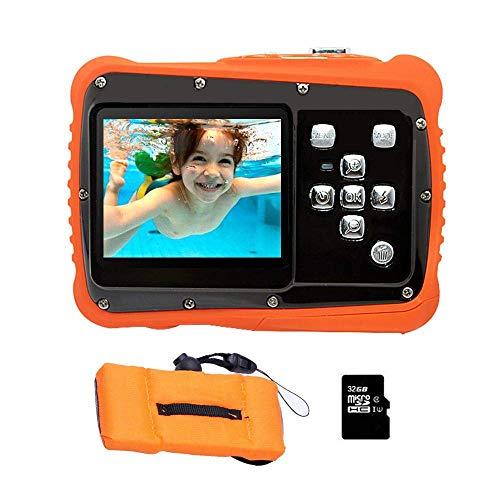 Miji Dustproof Kids Digital Camera, Underwater Camera with 2.0\'\'\'\' TFT LCD Screen, HD720p Waterproof Dustproof and Anti-Drop Digital Camcorder for Sports Swimming Diving Beaching (Orange)