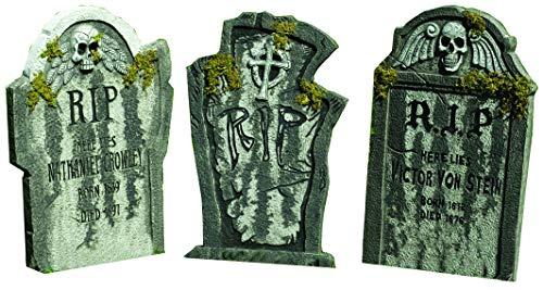 steine Halloween Deluxe Party Deko Schocker je 0,55 Meter groß wunderschöne große Friedhofsdeko im Granit Look mit Moos Effekt alle 3 Steine Mega Grusel Paket für grandiose Horror Party Locations mit Gänsehaut Garantie ()