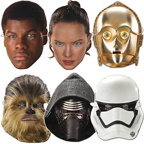6 Masken aus Starkpapier * STAR WARS * für Kindergeburtstag und Motto-Party // CONO // Set Masks Verkleidung Kinder Geburtstag Motto The Force Awakens Lucasfilm Darth Vader Yoda Krieg der (Star Masken Wars)