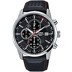 Lorus Chronograph Chrono Sport Men's Steel Leather Black Dial Clock RT335DX9