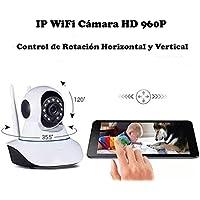 [Doble Antena] HD 960P P2P IP WiFi Cámara Video Vigilancia Nocturna de 1.3Mp y detección de movimientos. MarvTek con Micrófono y altavoz. Resolución HD (1280 * 960P) Con Rotación Horizontal de 355º y Vertical de 120º.