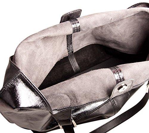 Pelle Italy Damen Tasche Shopper Bag Leder 38x36x14 cm (BxHxT), Farbe:Silver Silver