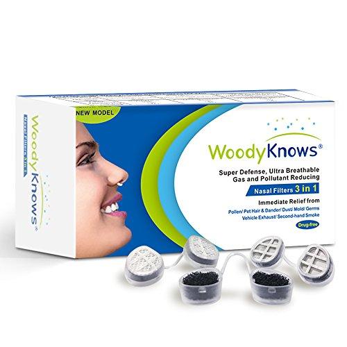 WoodyKnows Filtros Nasales 3 en 1, Combina Defensa Súper, Ultra Filtros Nasales Respirables que Reduce Gas y Artículos Contaminantes, Alivia el Polen, Alergia al Polvo y Otras Alergias (III-R)