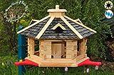 PREMIUM Vogelhaus mit Landebahn/Anflugbrett, Massivholz,wetterfest,mit Silo, Vogelvilla Vöglehus Vogelhäuser Großes Vogelhäuschen, aus Holz schwarz anthrazit lackiert SGA40atOS