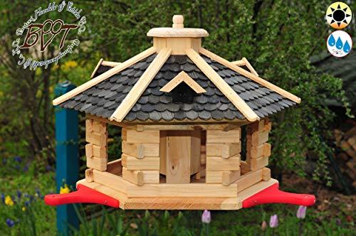 PREMIUM Vogelhaus mit Landebahn/Anflugbrett, Massivholz,wetterfest,mit Silo, Vogelvilla Vöglehus Vogelhäuser Großes Vogelhäuschen, aus Holz schwarz anthrazit lackiert SGA40atOS -