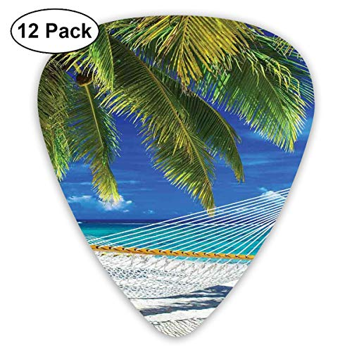 Guitar Picks12pcs Plectrum (0.46mm-0.96mm), Hammock On The Sandy Beach Between Palm Coconut Overlooking Sea Nature Art,For Your Guitar or Ukulele