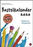 Bastelkalender weiß A4. Bastelkalender 2020. Monatskalendarium. Spiralbindung. Format 21 x 29,7 cm