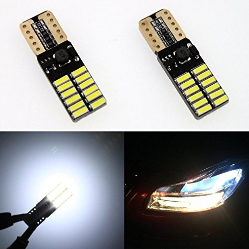 HKFV 10 x 12V 24V Nichtpolaritäts Canbus T10 LED Birnen mit 4014SMD 24 LED Licht 194 16 24SMD Breite Lampe