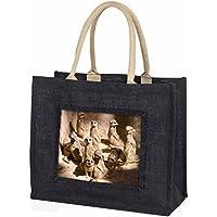 Meerkats Large Black Shopping Bag Christmas Present Idea