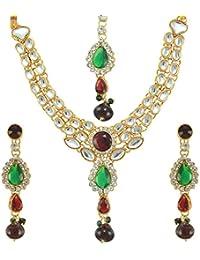 Dancing Girl Bridal Dulhan Wedding Maroon Green Metal Alloy Jewellery Set With Necklace Earring And Maang Tikka...