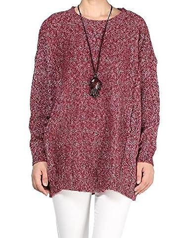 Vogstyle Robe Pull Surdimensionné Knitting avec Poches Femme Couleur unie Rouge M