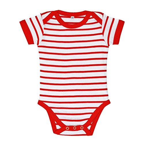 SOLS - Body de manga larga a rayas para bebé (12-18 Meses/Blanco/Rojo)