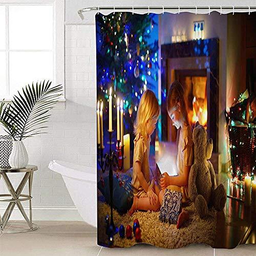 ABRAN Navidad Chimenea Niñas Baño Ducha Curtas con Hooksxmas Árbol Tela Decorativa Ducha Curta Set...