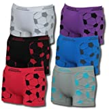 Set of 6 cool Kids Boys Sporty Microfibre Boxer Shorts with Football Motif