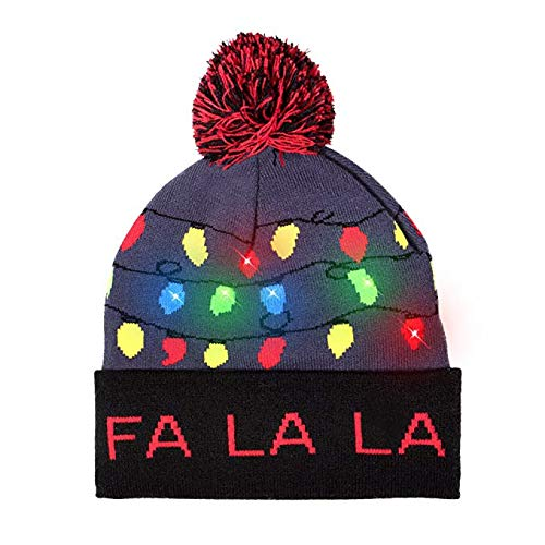 TIREOW_Weihnachten LED Light-up Gestrickter Holiday Xmas Christmas Beanie Hut