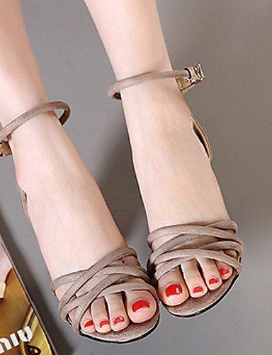 LFNLYX Chaussures Femme-Habillé-Noir / Kaki-Gros Talon-Talons / A Plateau / Bout Ouvert-Sandales-Laine synthétique Black