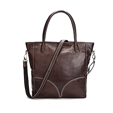 Sheli Brown Vintage Large Leather Cross Body Designer Tote Handbag Crossbody Bags for Women