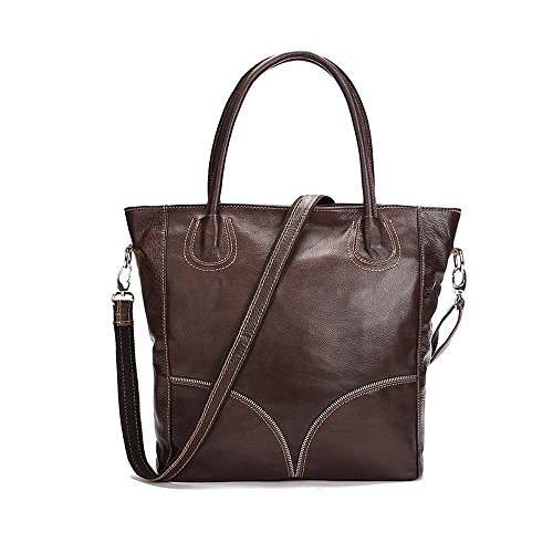 Sheli Brown Vintage Large Leather Cross Body Designer Tote Handbag Crossbody Bags for Women