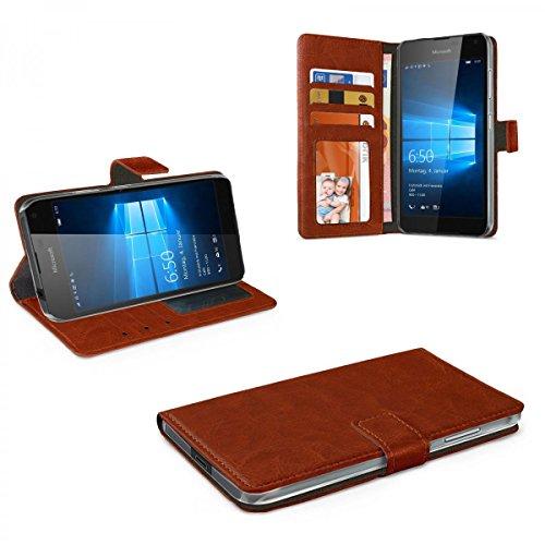 Preisvergleich Produktbild eFabrik Schutzhülle für Microsoft Lumia 650 Schutztasche Hülle Tasche Case Cover Leder-Optik braun