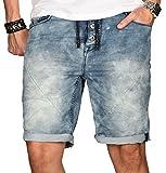 Sublevel Herren Jogg Jeans Shorts Kurze Hose Bermuda Sommer Short Sweathose Slim [B114 - Hellblau mit Knopfleiste - W29]