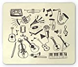 Drempad Luxe Tapis De Souris Custom, Musical Mouse Pad, Hand Drawn Scribbled Classical Instruments and Retro Gramophone and Mic, Standard Size Rectangle Non-Slip Rubber Mousepad, Dark Taupe Cream