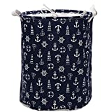 Sea Team Folding Zylindrische wasserdichte Beschichtung Leinwandgewebe Haken Blau Waschekorb Ablagekorb mit Kordelzug-Abdeckung Hook