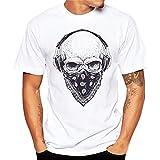 T-Shirt Herren Mode Sommer T-Shirts Mode Männer Kurzarm O-Neck Drucken Top Slim Fit Modal Hemden (L, Schwarz)