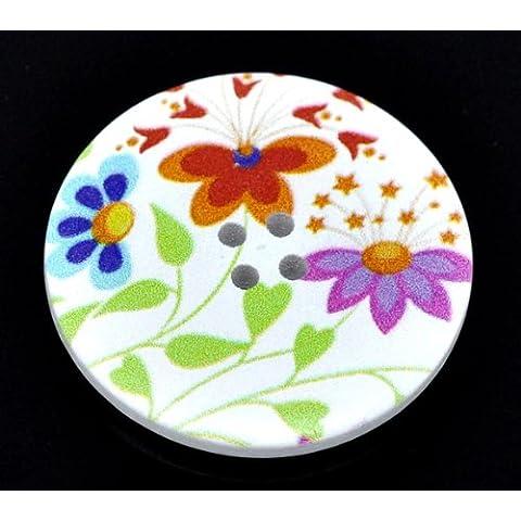 5 tamaño extra grande blanco y multicolor diseño de hojas y flores diseño floral botones redondos de madera. De mercería/manualidades/collages y tarjetas de felicitación/patrones de costura para etc.