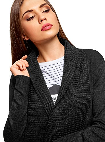 oodji Collection Damen Verschlussloser Strickcardigan Schwarz (2900N)