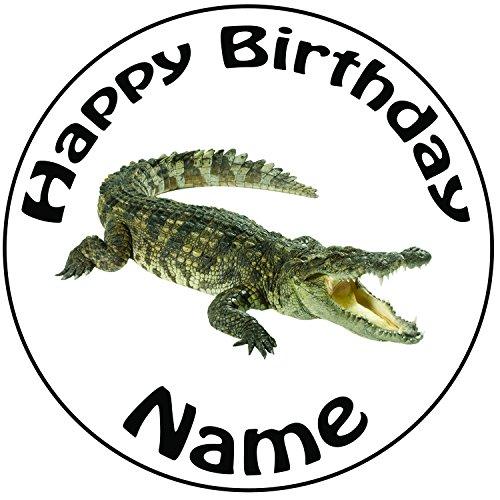 Personalisierter Krokodil Zuckerguss Kuchen Topper / Kuchendekoration - 20 cm Großer Kreis - Jeder Name Und Jedes Alter (Sugar Snap Womens)