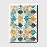 LANDENG Alfombra de Estilo marroquí Vintage, Alfombra de diseño a Cuadros Azul y Amarillo, Alfombra de Cocina/Sala de Estar/Dormitorio,100 * 160CM