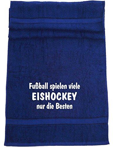 ShirtShop-Saar Fußball Spielen viele, Eishockey Badetuch Sport, dunkelblau