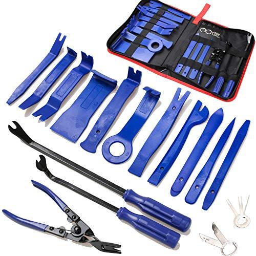 Werkzeug zum Entfernen von Zierleisten, Autotüren und Audio-Verkleidungen, Werkzeug-Set, Auto-Clips, Zangen-Verschluss, Entferner mit Aufbewahrungstasche (19-teilig)