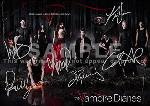 The Vampire Diaries TV Show Print-Cast Ian Somerhalder, Paul Wesley, Nina dobrew, Kat Graham, Candice Accola, Zach ROERIG (29,7x 21,1cm) (Vampire Diaries Cast)