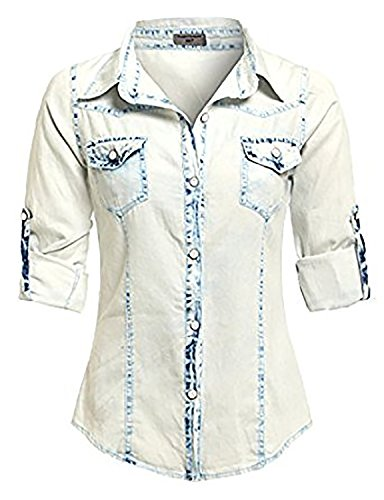 SS7 Damen Bluse Gr. 40, Bleach Wash -