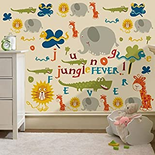 Jungle Fever Animals Print Removable and Repositionable Wall Stickers Décor Decal Art