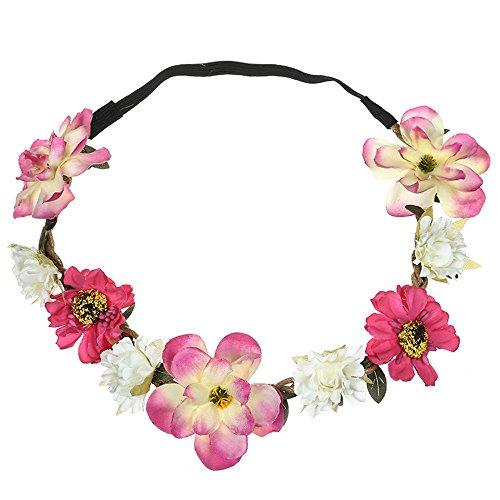 VRTUR Mädchen Braut Blumenkrone Stirnband Haarband Blumen Girlande Kopfstück zum Hochzeit Parteien Halloween Kopfschmuck (Einheitsgröße,Pink)